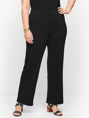 Plus Size Knit Jersey Straight Leg Pants