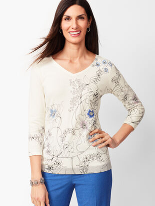 Double V-Neck Floral Sweater