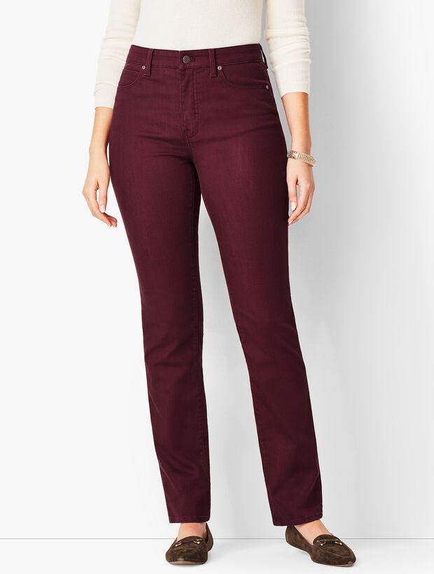 High-Waist Straight-Leg Jeans - Merlot/Curvy Fit