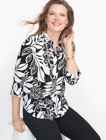 Classic Cotton Shirt - Abstract Hibiscus