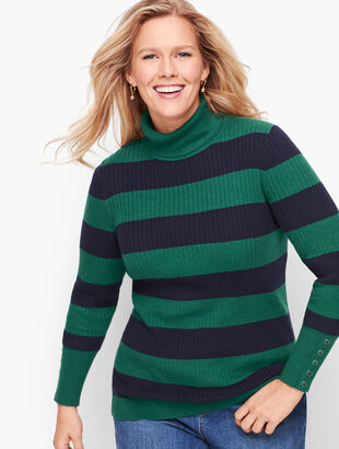 Button Cuff Ribbed Turtleneck Sweater - Stripe