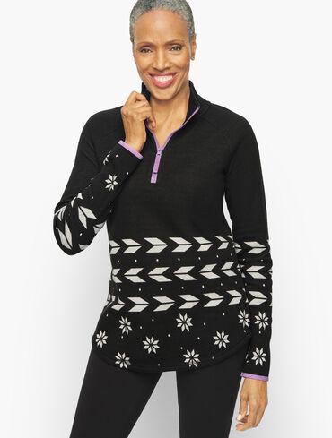 Geo Jacquard Raglan Half Zip Pullover
