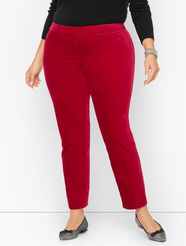 Plus Size Exclusive Velveteen Slim Leg Pants