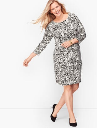 Knit Jersey Shift Dress - Leaf Dot