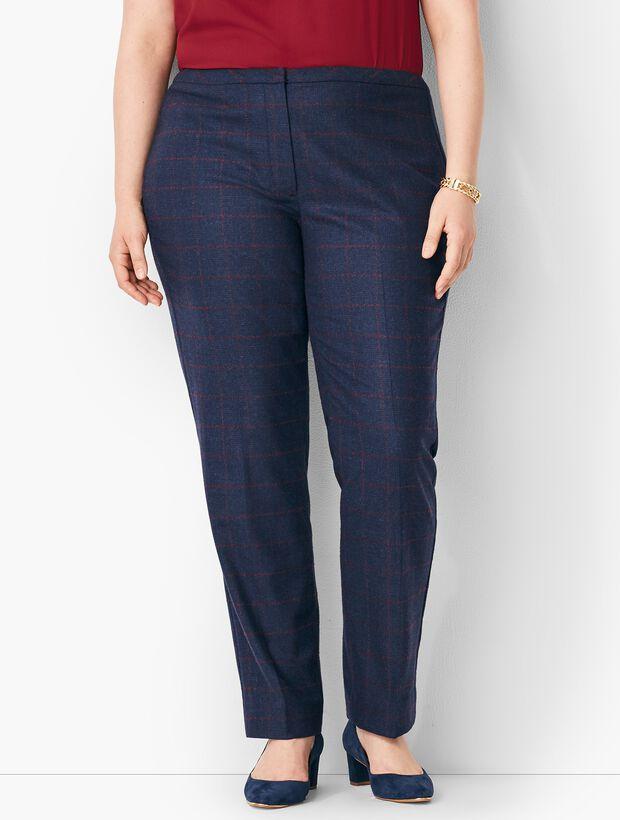 Plus Size Windowpane Plaid Slim-Leg Pants