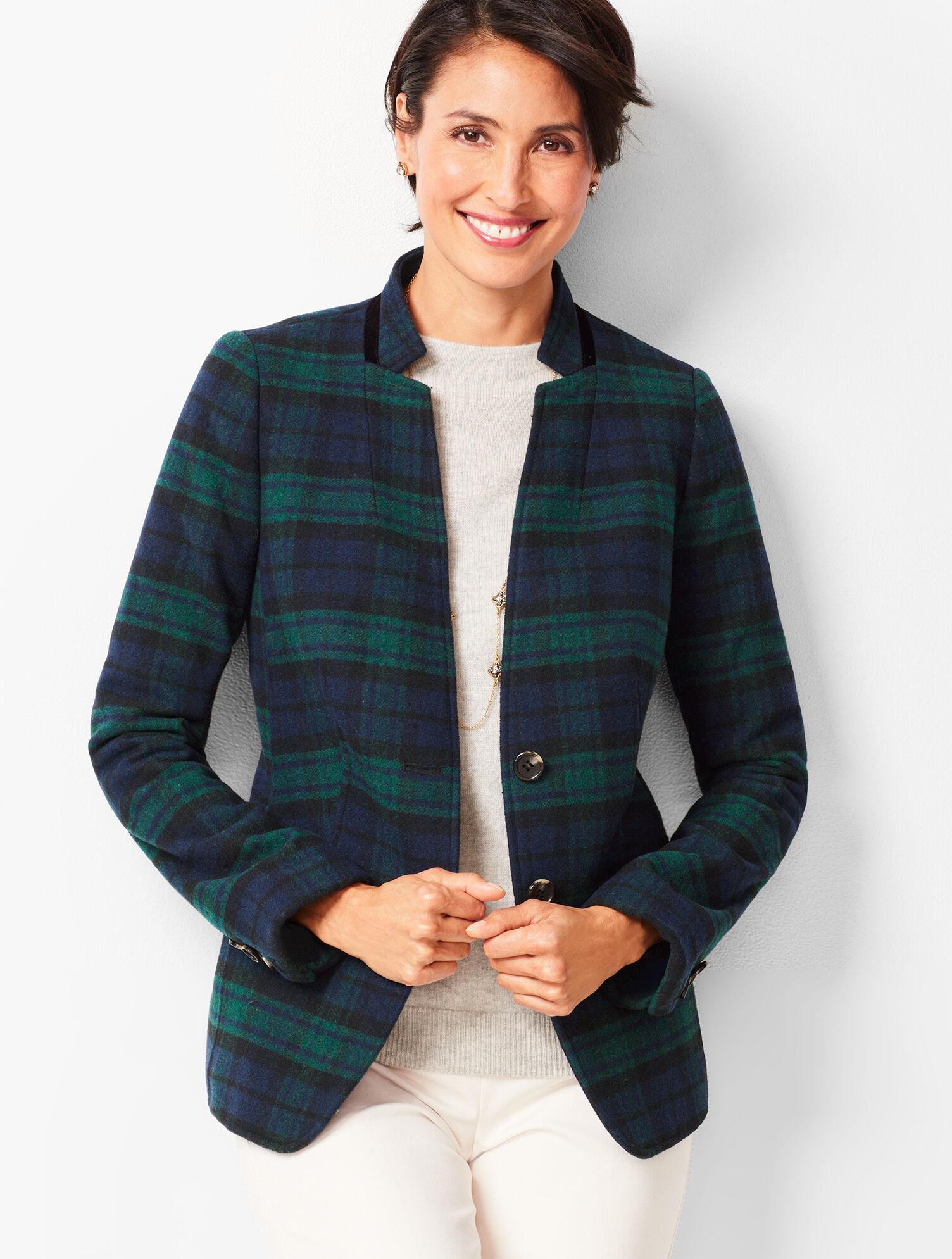 Women's Clothing Talbots Womens Blazer Jacket Black With White Trim 100% Wool Size Large
