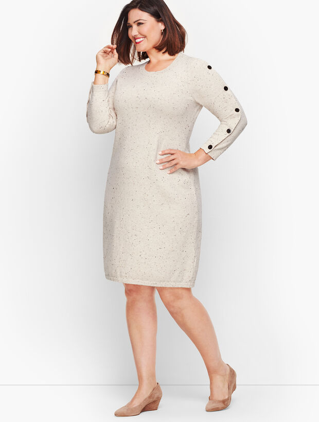 Kitty Tweed Button Sleeve Sweater Dress