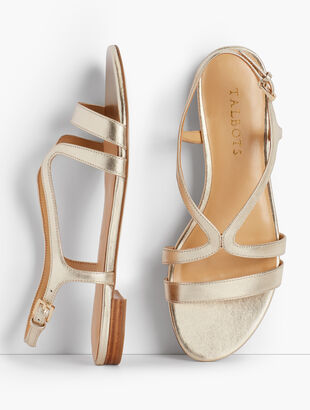 Keri Strap Sandals - Metallic Leather