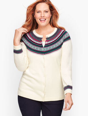 Fair Isle Trim Cardigan Sweater