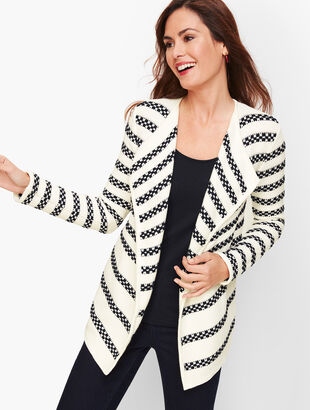 Textured Stripe Open Cardigan