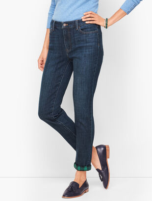 Flannel Cuff Ankle Jeans - Bowery  Wash