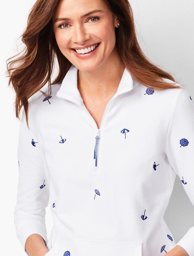 Embroidered-Umbrella Terry Half-Zip Pullover