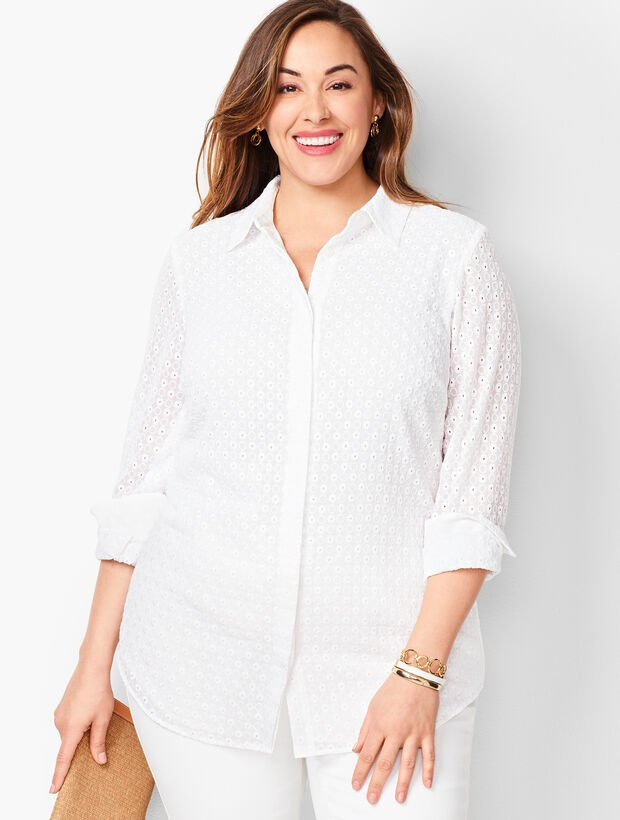 Embroidered Eyelet Button-Front