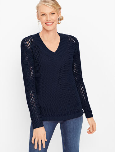 Open Weave V-Neck Sweater - Solid