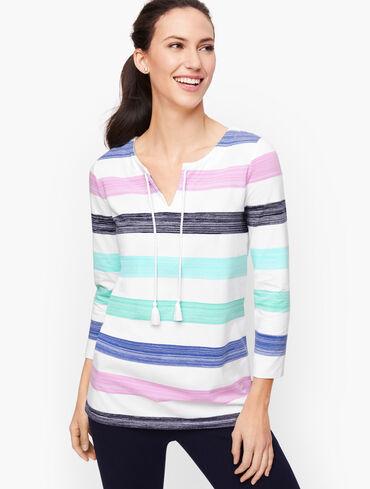 Brushed Stripe Split Neck Pullover