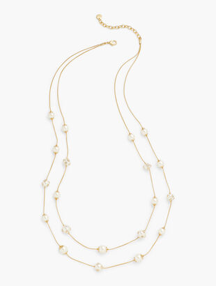Long Pearl Illusion Necklace