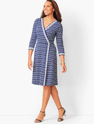 Jersey Faux-Wrap Dress - Geo Print