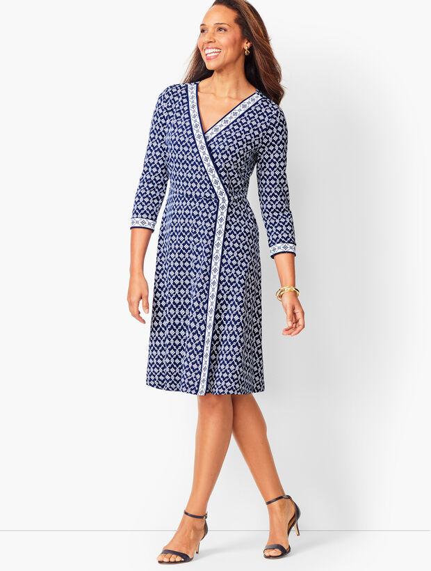 Knit Jersey Faux-Wrap Dress - Geo Print