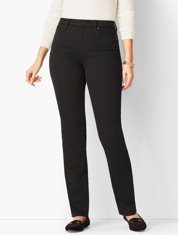 High-Waist Straight-Leg Jeans - Never Fade Black /Curvy Fit