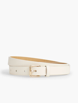 Pebble Leather Square-Buckle Belt - Ivory