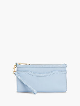 Pebble Leather Zip-Top Wristlet