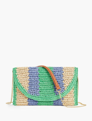 Stripe Straw Clutch - Multi Stripe