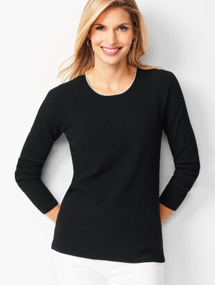 Tipped Ribbed Sweater