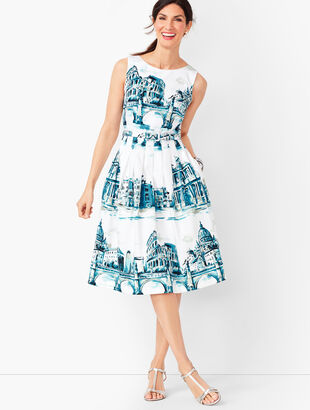 Scenic Rome Fit & Flare Dress
