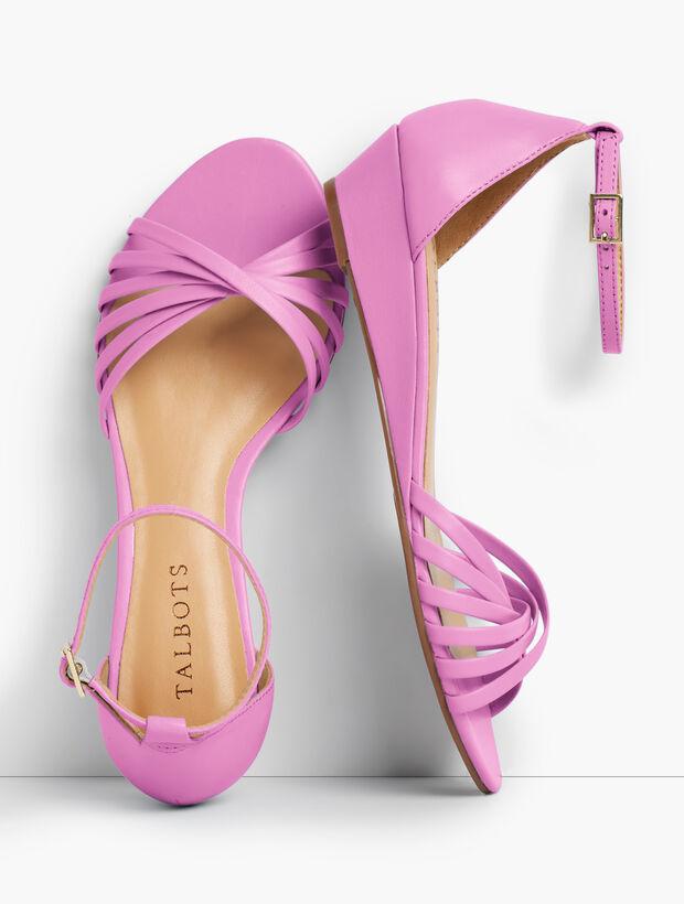 Capri Twist-Strap Wedge Sandals - Nappa Leather