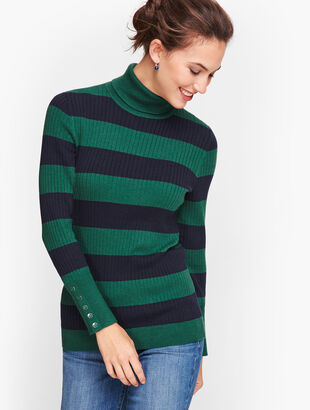Button Cuff Ribbed Turtleneck Sweater - Stripe