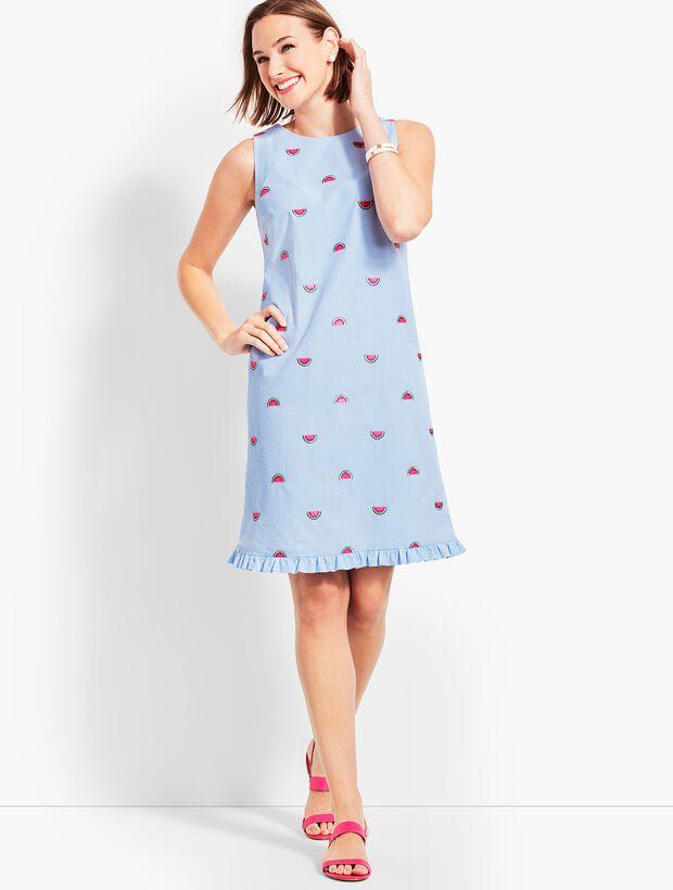 Watermelon-Embroidered Seersucker Shift Dress