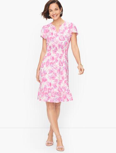 Flounce Hem Spring Poppies Dress