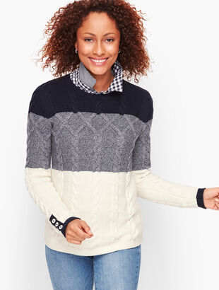 Chunky Cable Sweater - Colorblocked