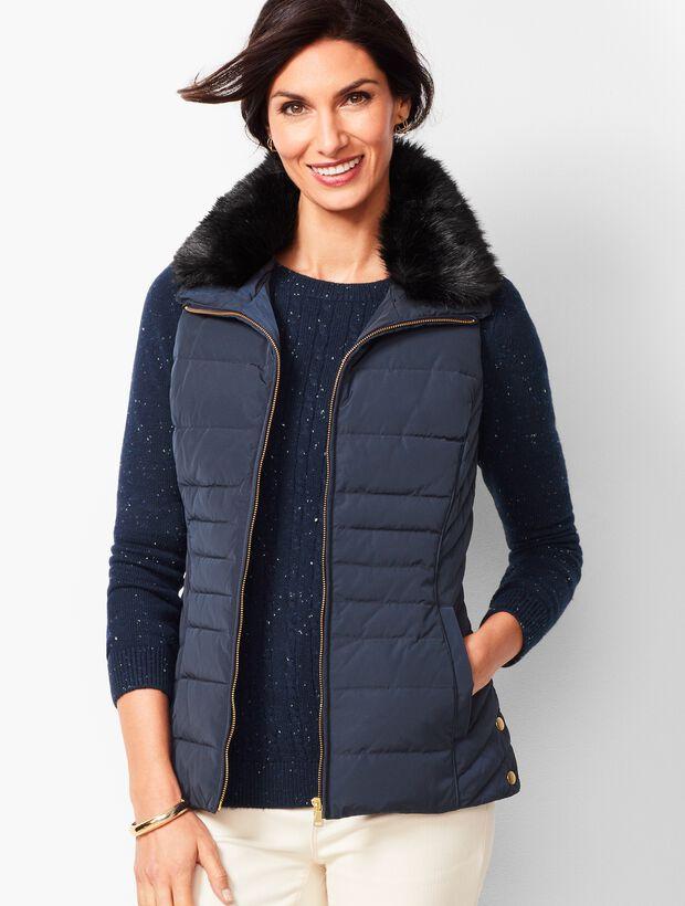 547b95aa495 Down Fur-Collar Puffer Vest