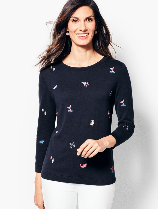 Three-Quarter-Sleeve Nautical Embroidered Sweater
