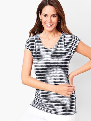 Brushed-Stripe Sweater Tee