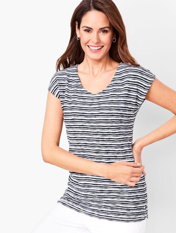Brushed-Stripe Sweater Tee