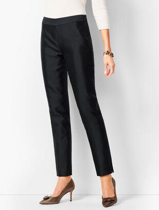 Silk Jacquard Talbots Chatham Ankle Pants