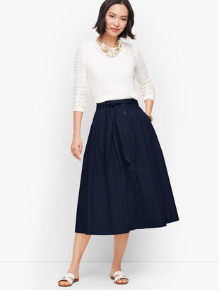 Poplin Button Front Full Midi Skirt