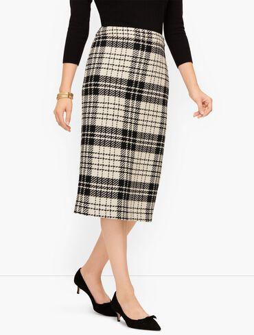 Twill Plaid Pencil Skirt