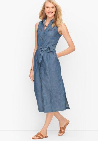 Sleeveless Denim Midi Shirt Dress