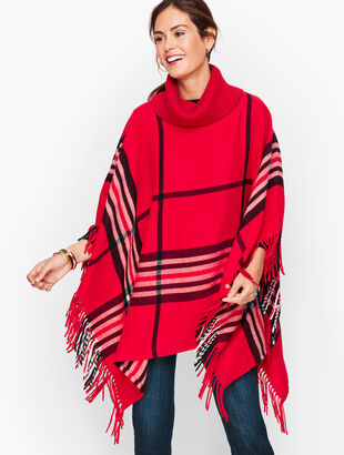 Fringed Poncho - Plaid