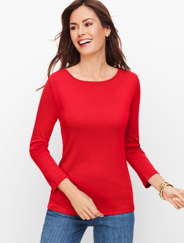 Three-Quarter Sleeve Bateau Neck Tee