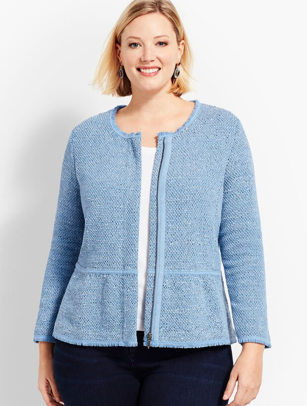 Woman Exclusive Space-Dyed Tweed Sweater Jacket