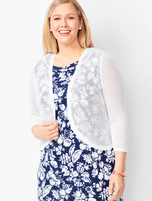 Plus Size Open-Stitch Dress Shrug