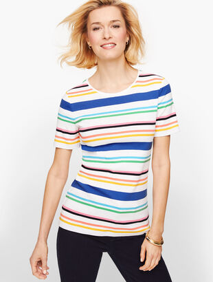 Cotton Crewneck Tee - Bay Stripe