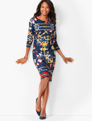 Nautical-Print Jewel-Neck Shift Dress