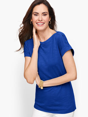 Button Shoulder Tee
