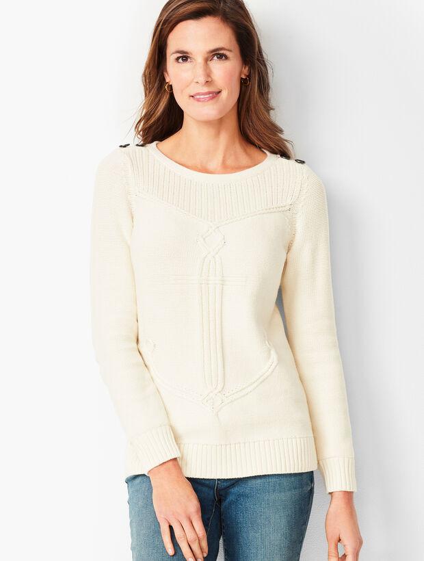 Cable Ribbed-Yoke Sweater