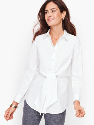 Tie Waist Button Front Shirt